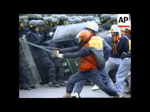 SOUTH KOREA: VIOLENCE FLARES AFTER PROTEST MARCH (V) - YouTube