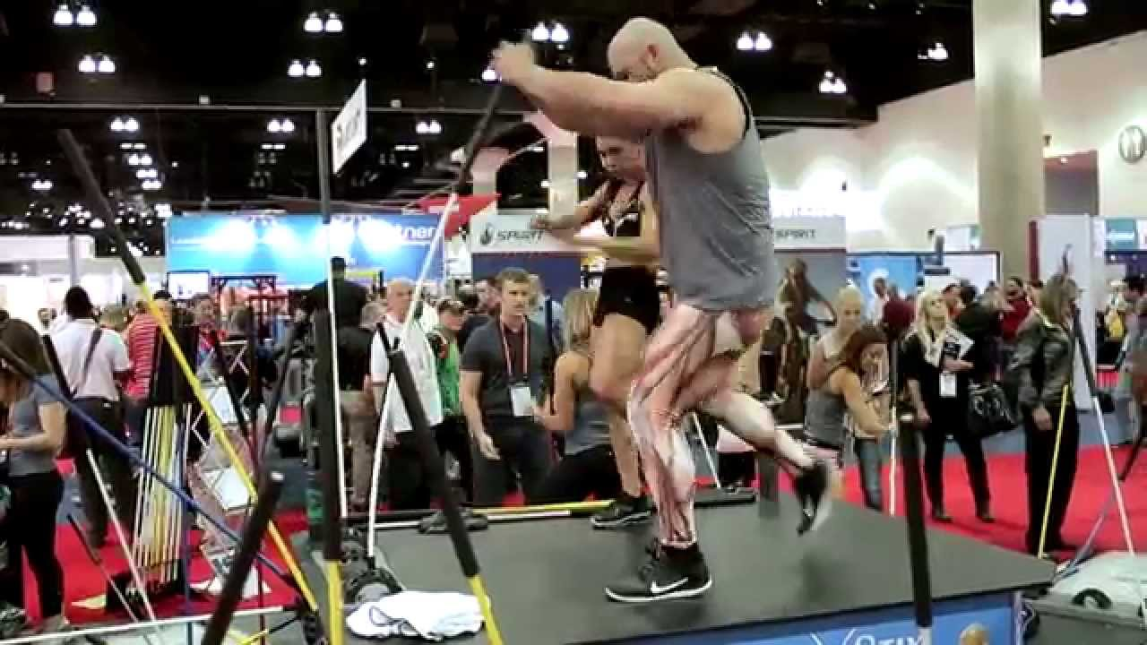 Trainers showcase explosive movements on Core Stix at IHRSA!