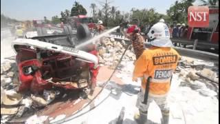 Lorry laden with flour turns turtle, three injured