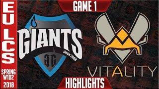 GIA vs VIT Highlights | EU LCS Spring 2018 S8 W1D2 | Giants vs Team Vitality Highlights thumbnail