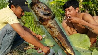 Primitive Technology -Find and cook fish recipe -ASMR eating fish delicious -Catch Big Fish
