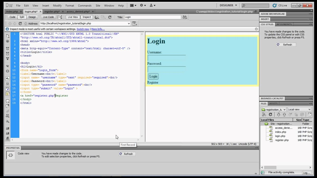 Creating a Registration Form and Login Database using Dreamweaver ...