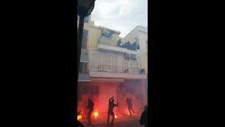 Olympiakos hooligans attacks AEK fan-base in Crete 17.02.2018