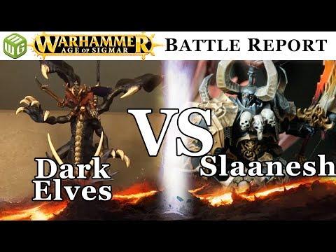 Dark Elves vs Slaanesh Age of Sigmar Battle Report - War of the Realms Ep 167