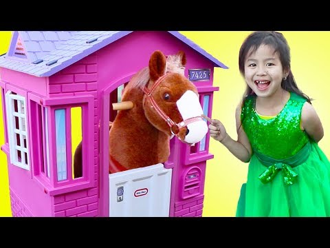 Jannie Pretend Play with Ride On Horse Toy