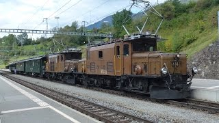 "Historic Swiss ""Crocodile"" locos on excursion train at Filisur"