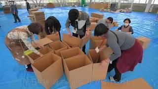 被災者に段ボールベッドを支給 長野市