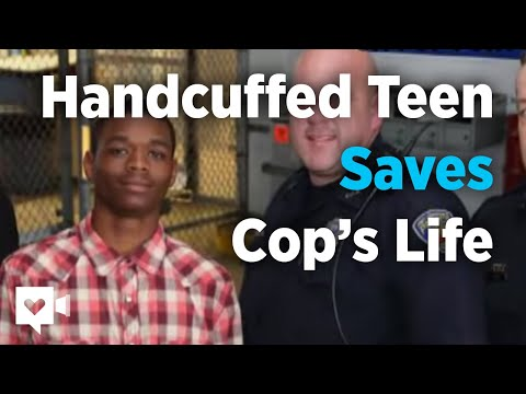 See handcuffed teen save cop's life while under arrest