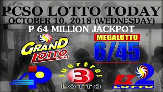 Lotto Result Today, October 10, 2018 (Wednesday) - PCSO LOTTO TODAY