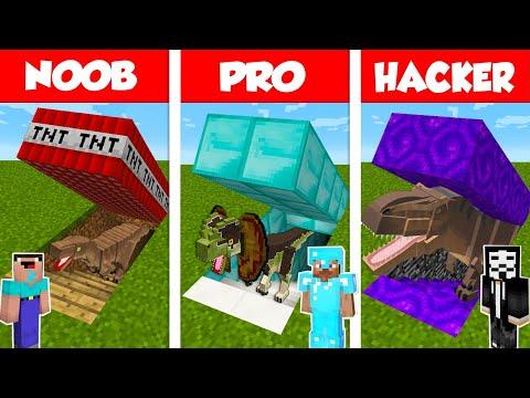 Minecraft NOOB vs PRO vs HACKER: SECRET DINOSAUR BASE CHALLENGE in Minecraft / Animation