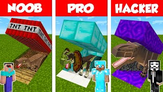 Minecraft Noob Vs Pro Vs Hacker Secret Dinosaur Base Challenge In Minecraft  Animation