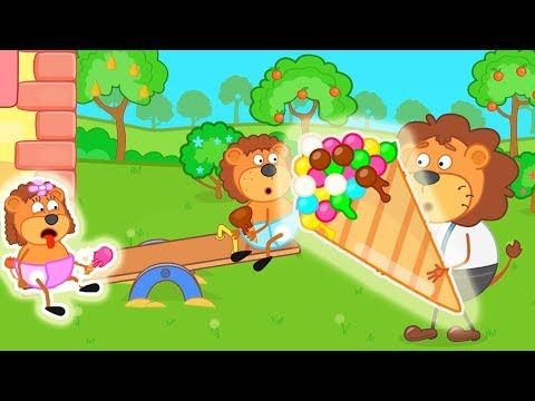 Lion Family Daddy Lion with Big Ice Cream Cartoon for Kids