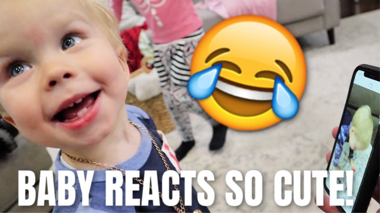 BABY REACTS TO BLOOPER VIDEO! SO CUTE!