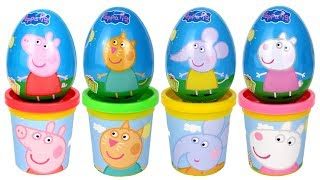 Peppa Pig & Friends Surprise Eggs Play Doh Molds Candy Cat Emily Elephant Suzy Sheep Danny Dog Toys