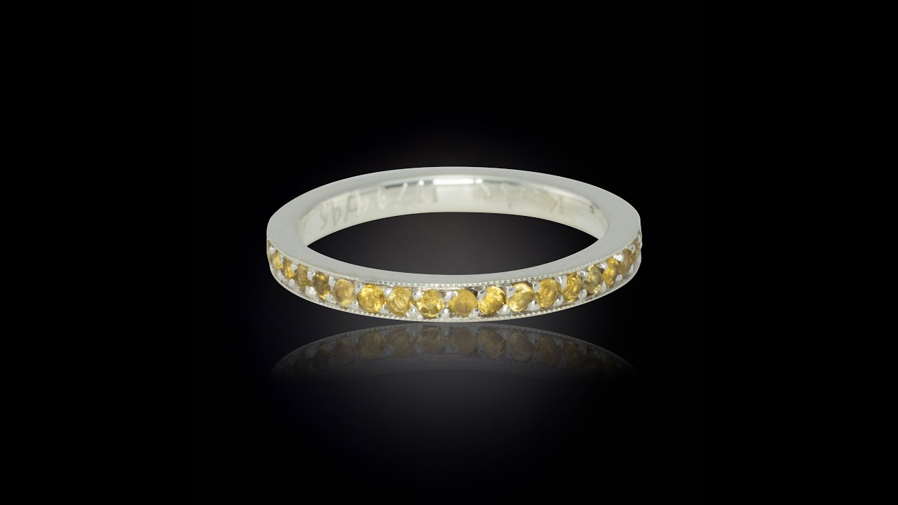 Natural Citrine Birthstone Eternity Band With Milgrain