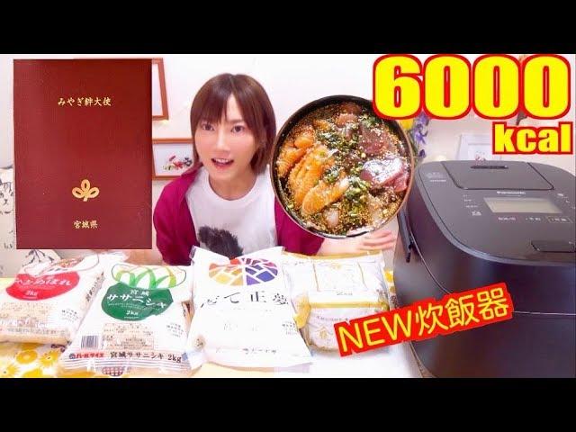 【大食い】[みやぎ絆大使に任命!]ササニシキをいろんなごはんのお供と食べるよ![新炊飯器登場]【木下ゆうか】