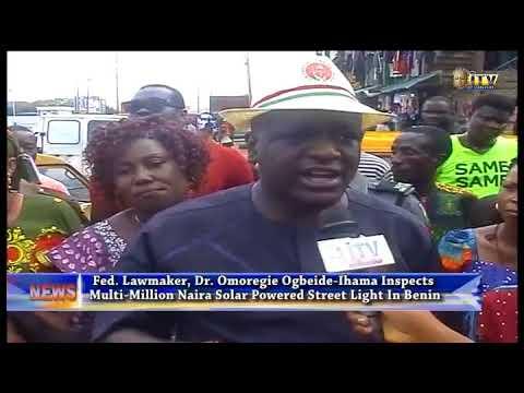 Dr. Ogbeide-Ihama inspects solar powered street light in Benin