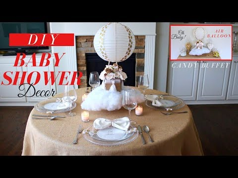 Floating Hot Air Balloon Centerpiece | DIY Baby Shower Decorations Ideas