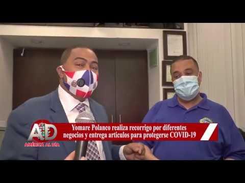 Yomare Polanco realiza recorrigo por negocios y entrega articulos para protegerse COVID 19