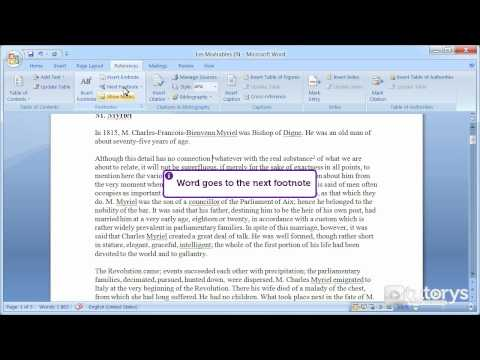 How to insert footnotes with Word 2007?