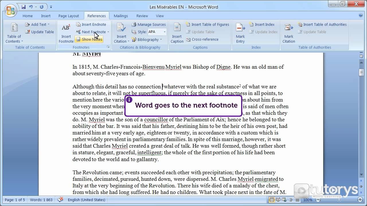 How to insert footnotes with Word 20?