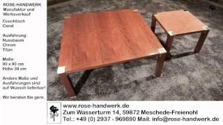 Couchtisch Carat Holz Nussbaum Metall Chrom Titan