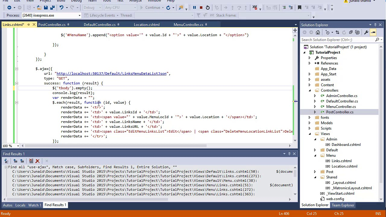 165 ASP  NET MVC - Render Menu Link data in Datatables and add Action  button Group