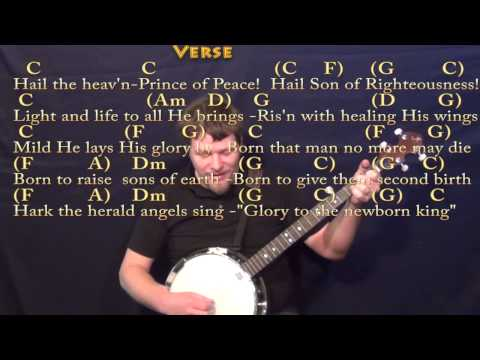 hark the herald angels sing banjo cover lesson in c with chordslyrics