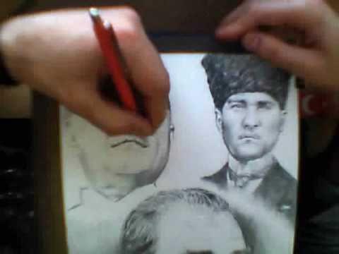 Mustafa Kemal Atatürk Karakalem çizim Youtube