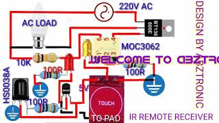 Ir rmote receiver using ttp223 touch capacitance+ac driver