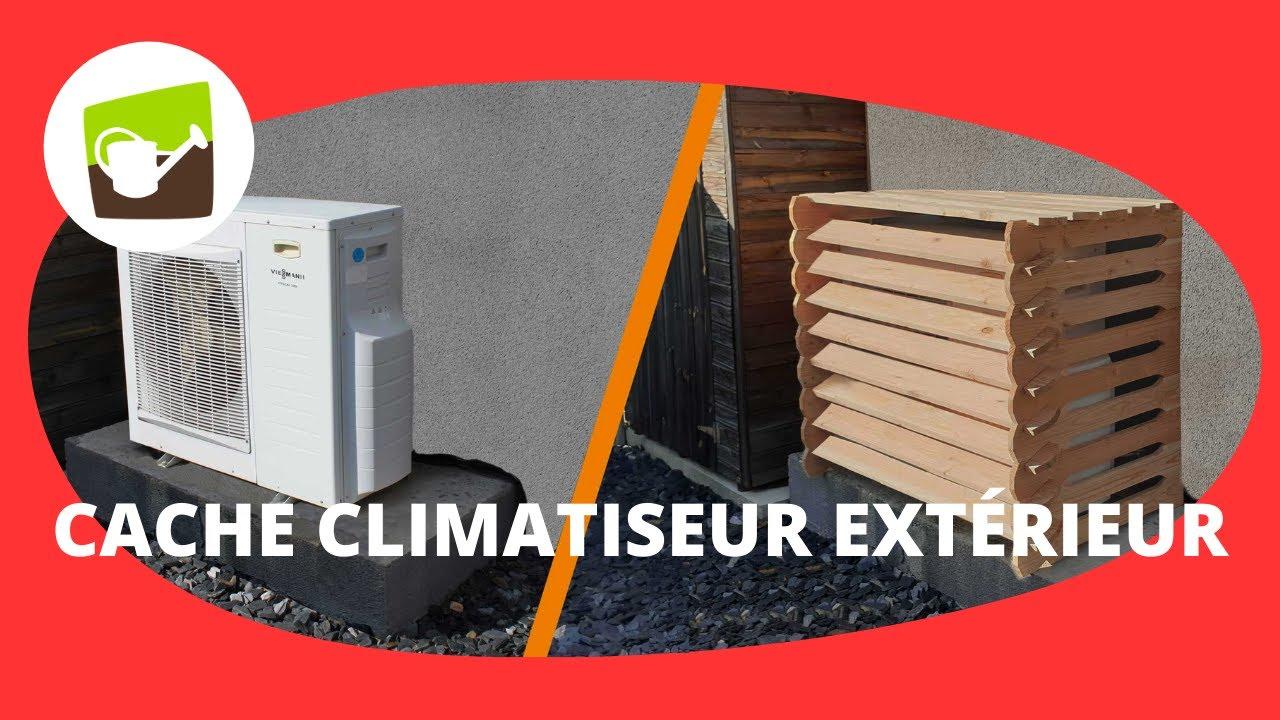 cache climatiseur exterieur et pompe a chaleur en bois