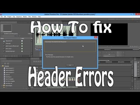 Adobe Premier-  Audio File Header Error Fix