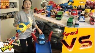 폴리 vs 타요. 장난감 레이싱 대결. 과연, 최후의 우승자는 누구일까? 자동차 레이싱대결 toy car speed race battle