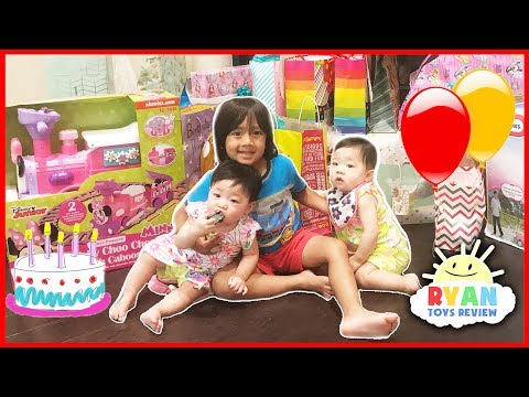 Thumbnail: Twin's 1st Birthday Party Surprise Toys Opening Presents with Ryan ToysReview Emma and Kate