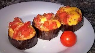 Баклажаны запеченные. Закуска из баклажанов с помидорами, чесноком и сыром.