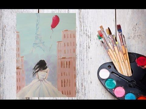 Как нарисовать Париж? Рисуем Утро в Париже гуашью! #Dari_Art