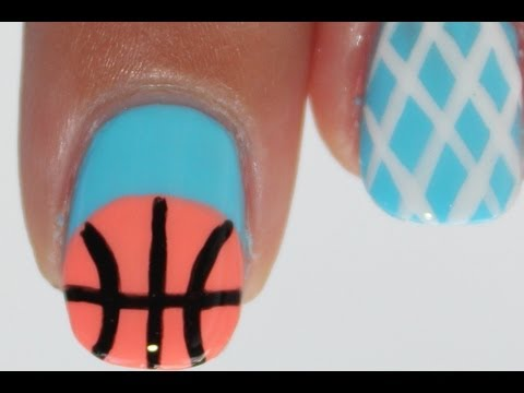basketball nail art tutorial