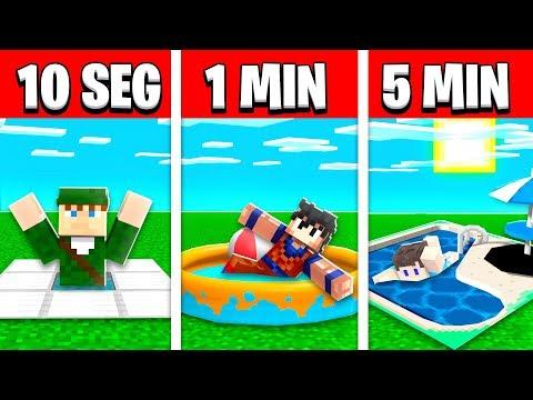 NOOB VS PRO: CONSTRUIR PISCINA EM 5 MINUTOS / 1 MINUTOS / 10 SEGUNDOS NO MINECRAFT!!