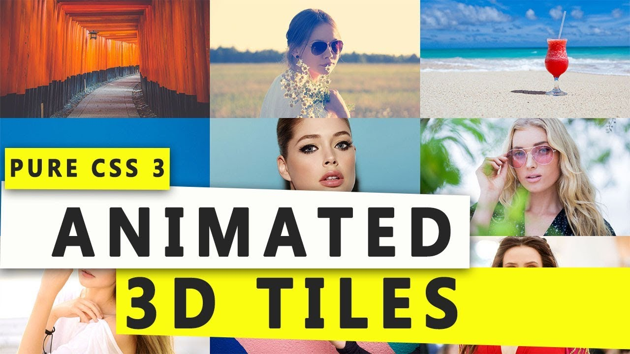 Animated 3D Ttiles with flip using CSS 3 & HTML / Webdesign Tutorial