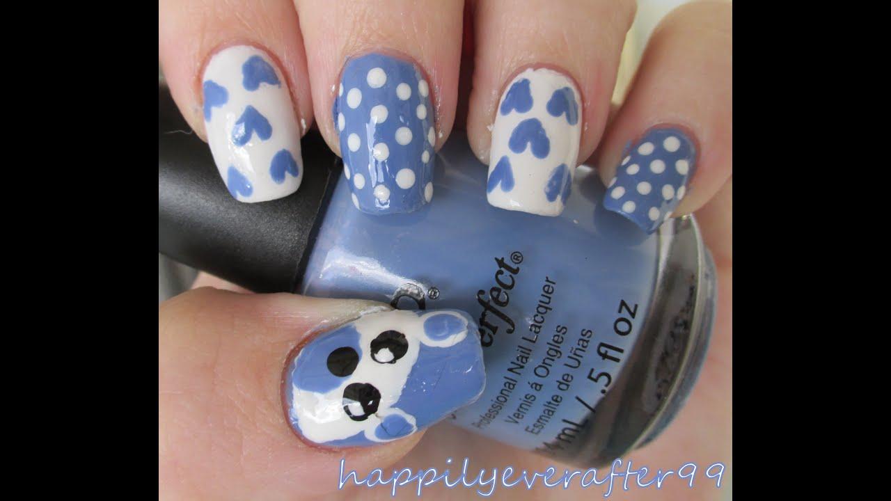 Teddy Bear Nails Baby Nail Art Youtube