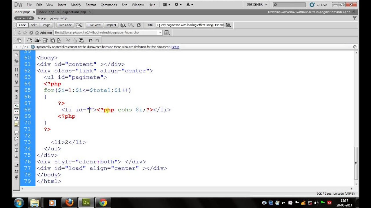 pagination without refresh in PHP Tutorial part1