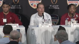 Post game interview with Alabama's Saban, T. Tagovailoa, J. Jacobs, X. McKinney
