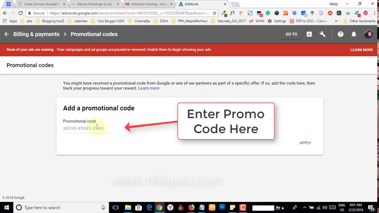 How to add Google Adwords Coupon Promotional code - YouTube