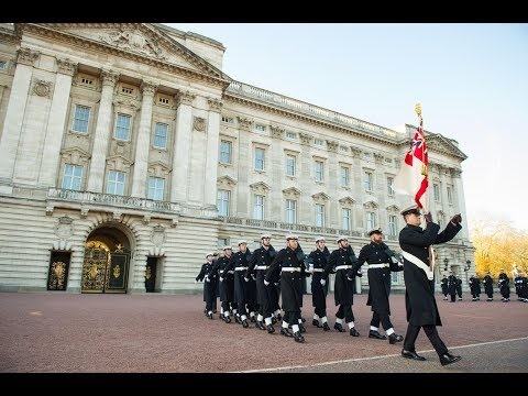 First Changing Of Queen's Guard By Royal Navy Buckingham Palace