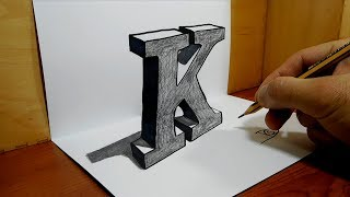 3D Trick Art on Paper, Letter K with Graphite Pencil