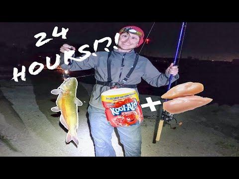 KOOL-AID AND CHICKEN CATCHES CATFISH!?! | 24 Hour Fishing Challenge | Utah Lake, Utah