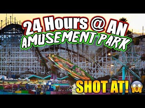 24 HOUR CHALLENGE AT AN AMUSEMENT PARK (GOT SHOT AT!)