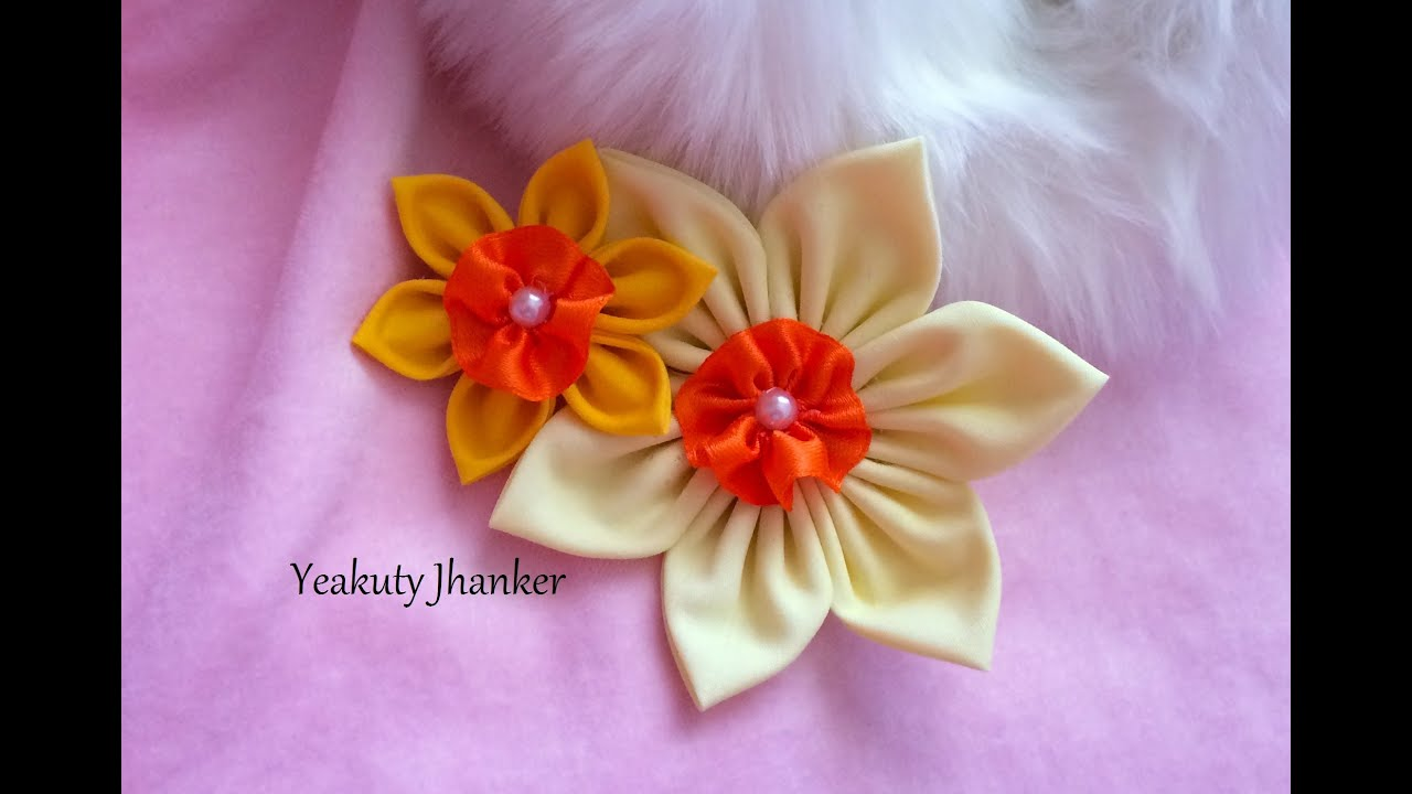 Diy Make A Kanzashi Fabric Flower Hair Clip Youtube