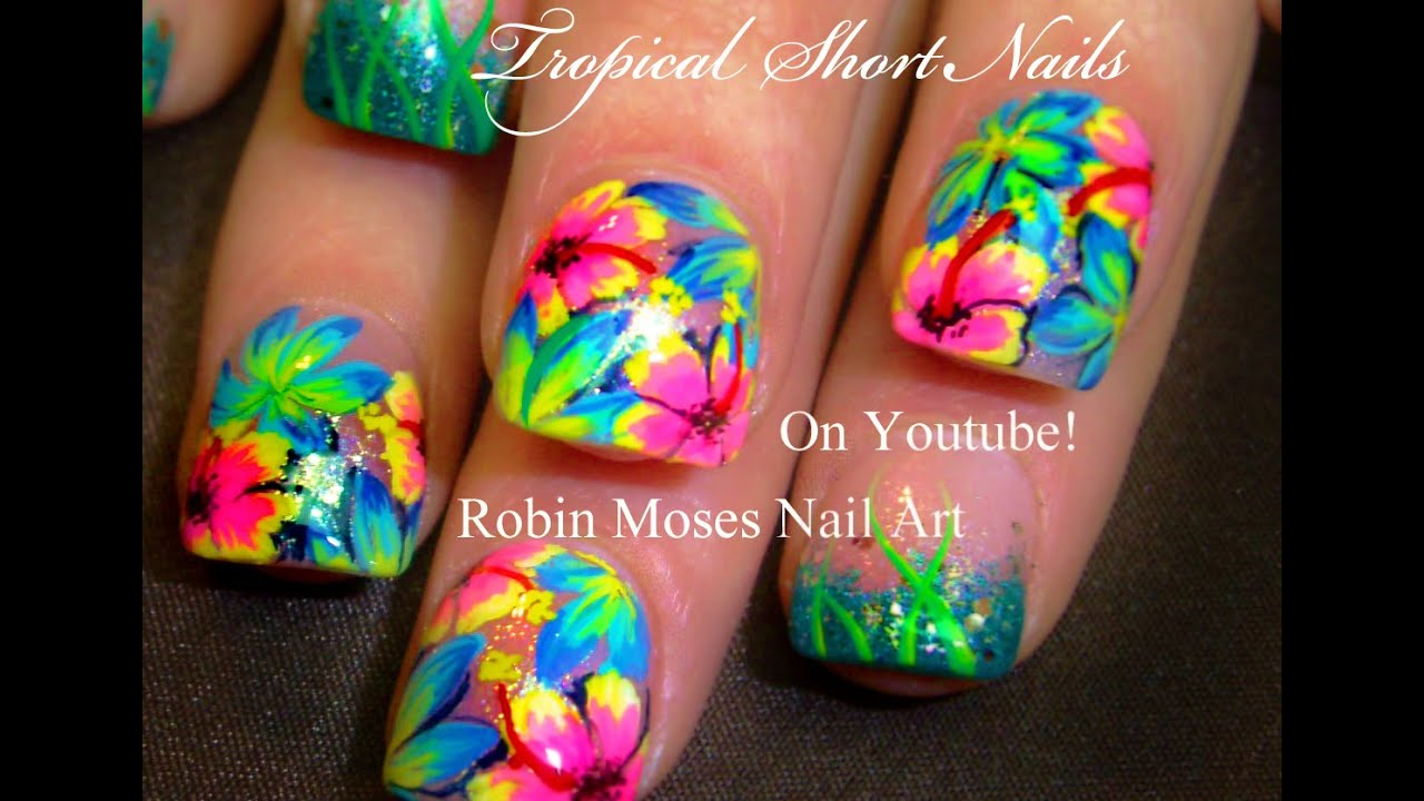 Hot Neon Pink Flower Nails Tropical Plumeria Nail Art Design