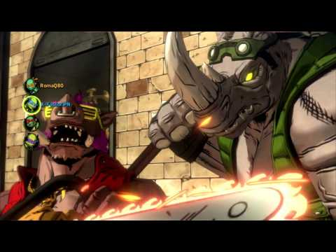 Rocksteady comes to help Bebop on Very Hard difficulty TMNT Mutants in Manhattan (online  gameplay)